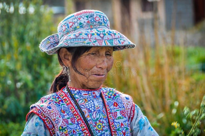 Quechua vrouw in de Colca-Canion, Peru royalty-vrije stock afbeelding