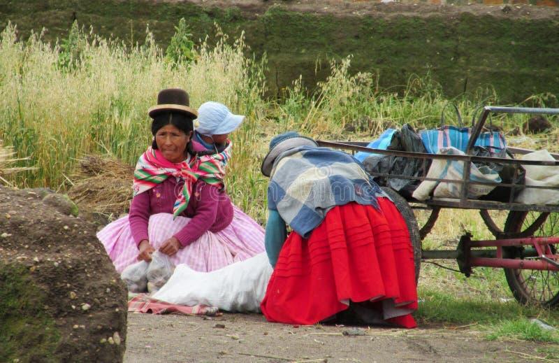 Quechua vrouw met een kind in Latijns-Amerikaans royalty-vrije stock afbeeldingen