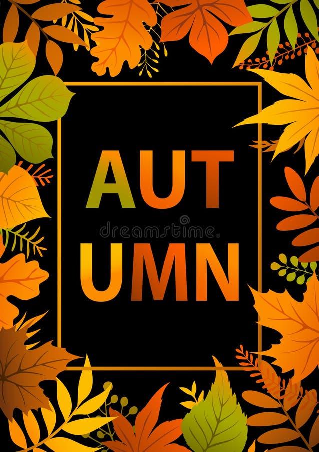 A queda brilhante colorida do outono deixa o cartaz dos ramos ilustração royalty free