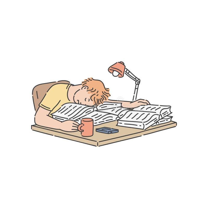Queda cansado do menino do estudante adormecida na pilha dos livros e dos papéis na tabela ao ler e ao estudar ilustração royalty free