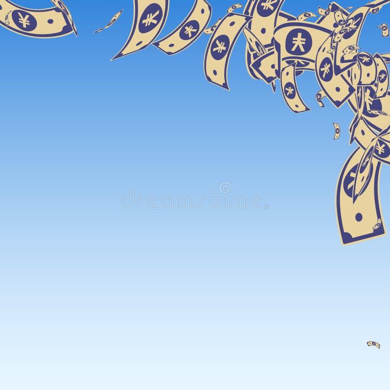 Queda chinesa das notas do yuan Contas desarrumado do CNY em azul ilustração stock