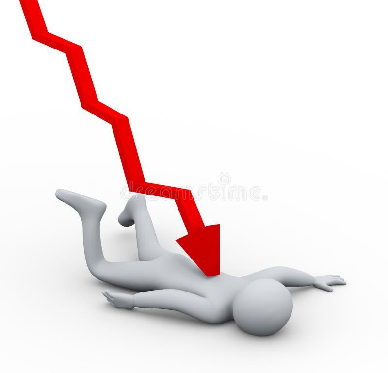 queda da crise financeira da pessoa 3d ilustração do vetor