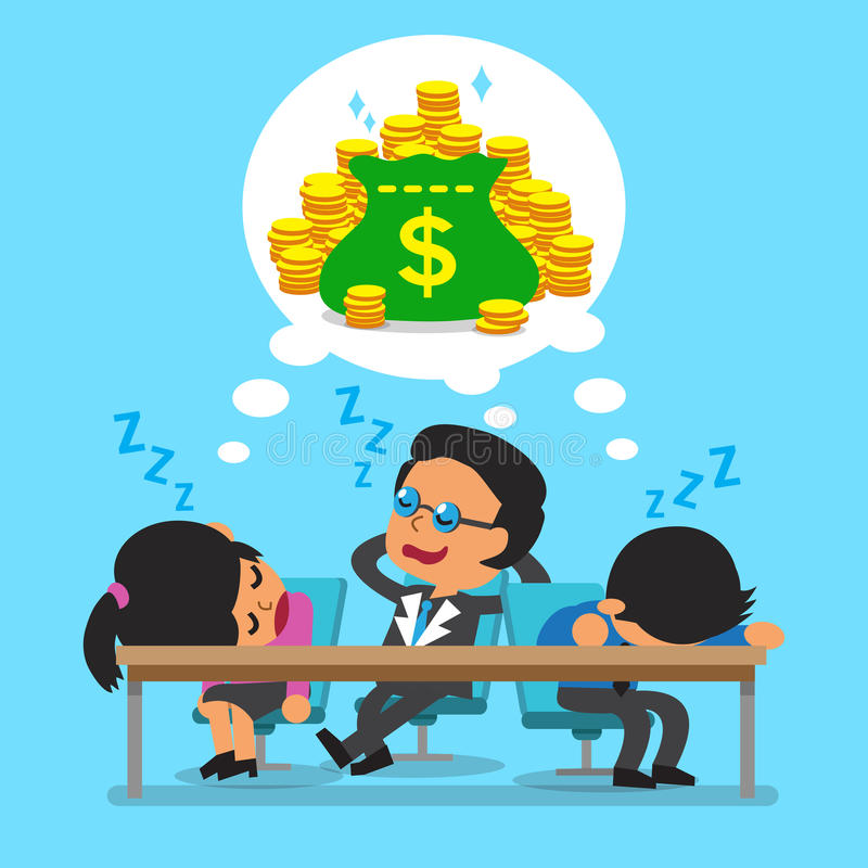 Queda da equipe do negócio dos desenhos animados adormecida e ideal sobre o dinheiro ilustração stock