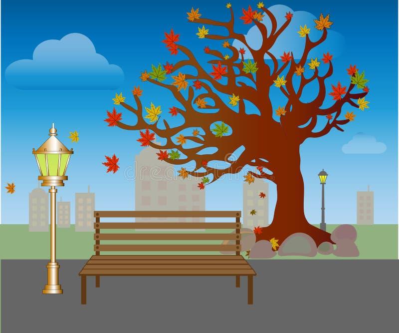 Queda da folha no parque do outono Banco sob árvores com vetor amarelo das folhas ilustração royalty free