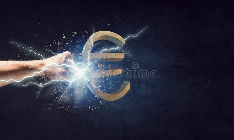 Queda da moeda do Euro ilustração royalty free