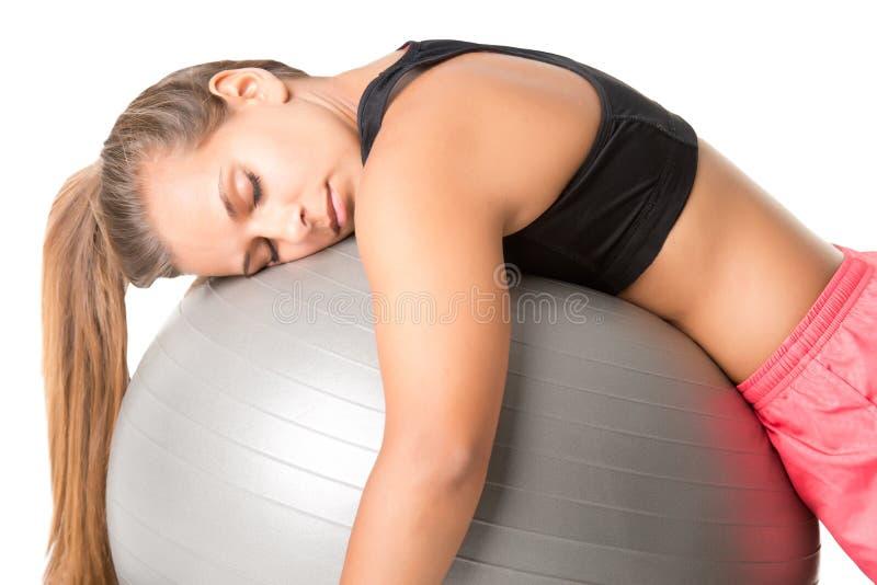 Queda da mulher adormecida no Gym imagens de stock
