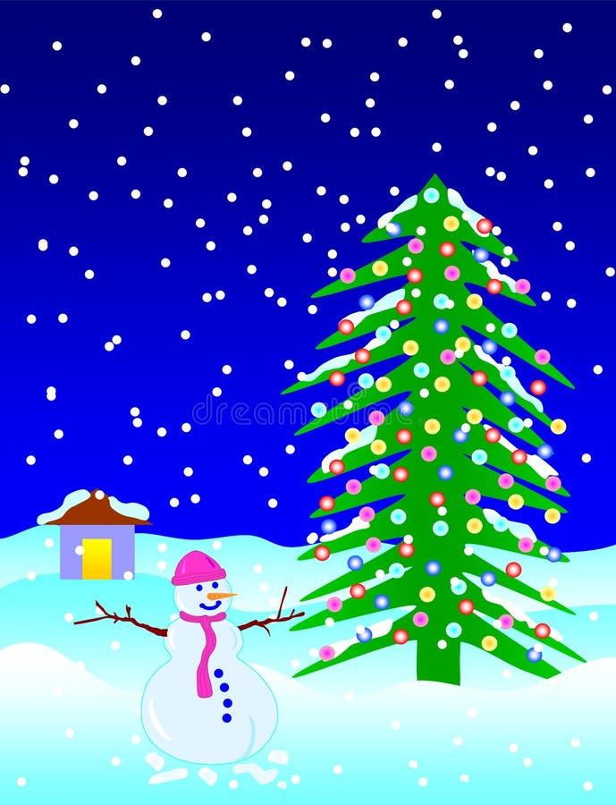 queda da neve na noite de Natal foto de stock royalty free