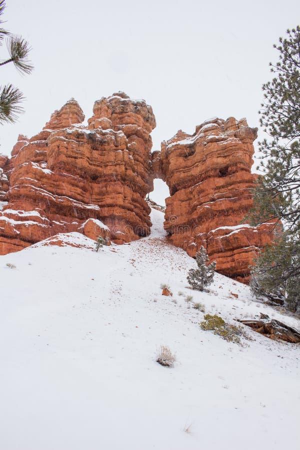 Queda da rocha da queda de neve imagem de stock royalty free