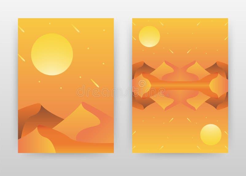 Queda das estrelas e sol na noite no projeto de negócio do deserto para anual, folheto, inseto, cartaz Vetor alaranjado do fundo  ilustração royalty free