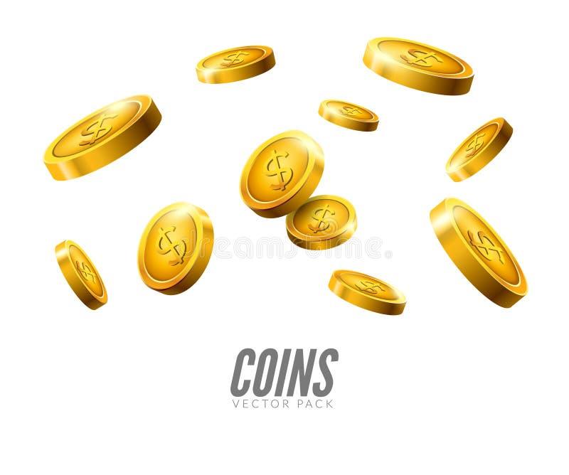 Queda das moedas de ouro moeda realística do vetor 3d isolada no branco Fundo do dinheiro do dinheiro ilustração do vetor