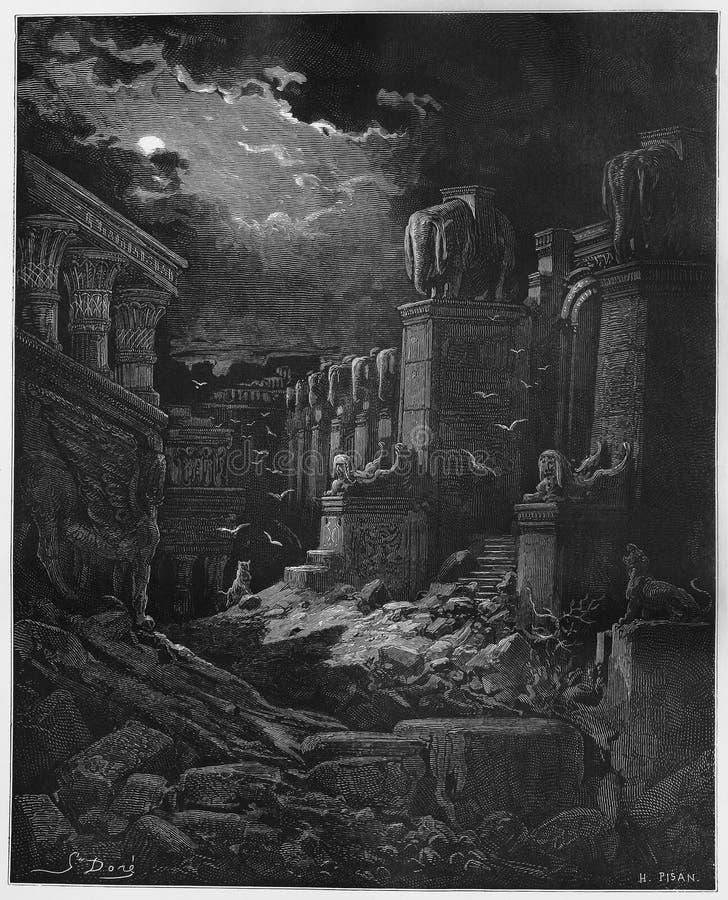 A queda de Babylon ilustração royalty free