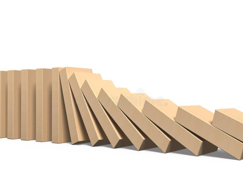 Queda de madeira dos dominós imagens de stock royalty free