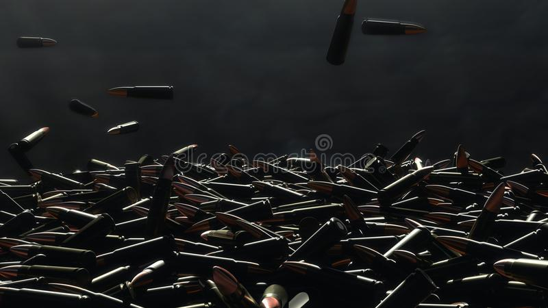 Queda de muitas balas na tabela No fundo uma parede escura fotos de stock royalty free