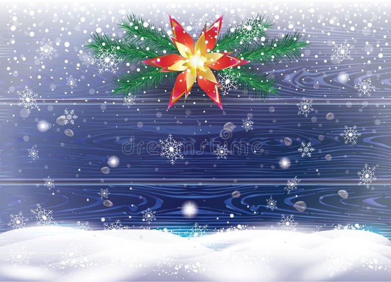 Queda de neve da festão dos galhos do abeto da decoração do Natal, fundo de madeira ilustração do vetor