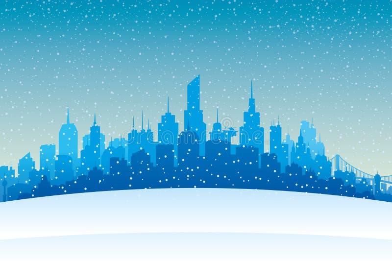 Queda de neve da noite e cidade do inverno ilustração do vetor