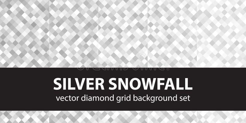Queda de neve de prata ajustada do teste padrão do diamante ilustração do vetor