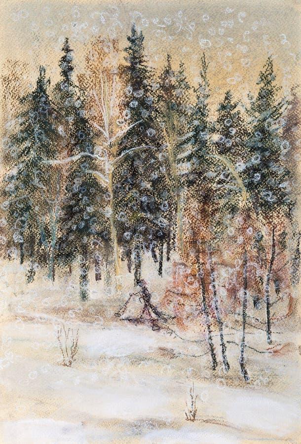 Queda de neve do inverno ilustração stock