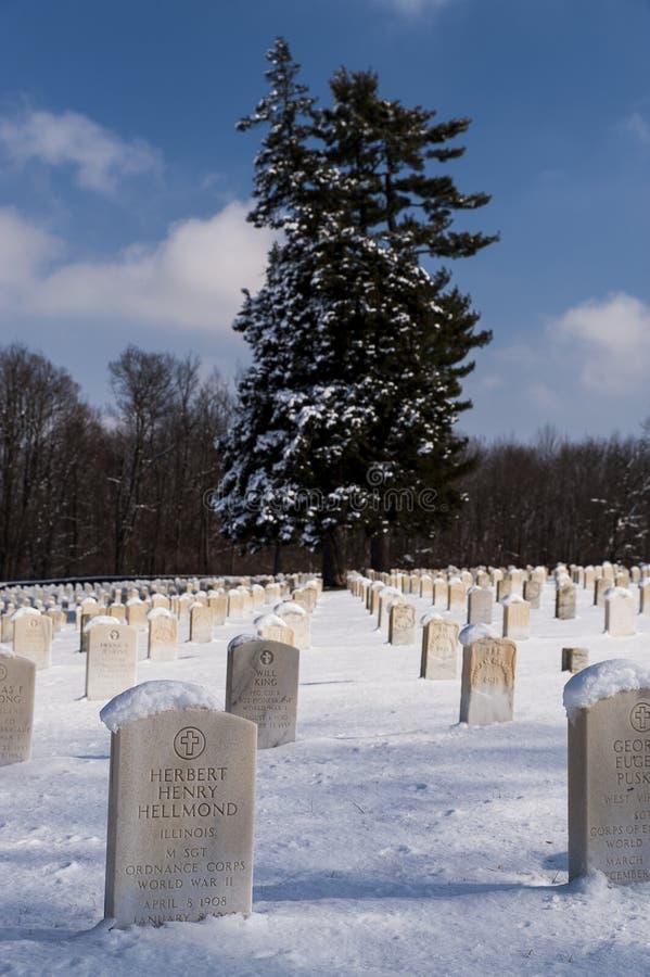 Queda de neve do inverno - acampamento histórico Nelson National Cemetery - Jessamine County, Kentucky fotos de stock