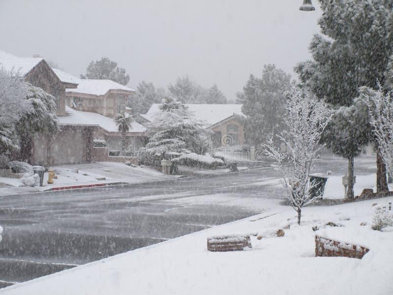 Queda de neve do inverno, Las Vegas, nanovolt 2010 fotografia de stock royalty free
