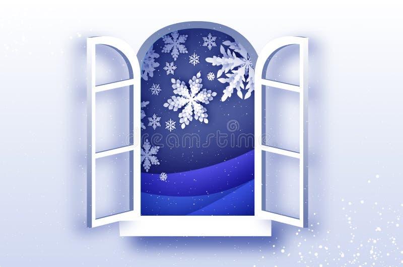 Queda de neve do Natal Cartão de cumprimentos do Feliz Natal no estilo cortado de papel Feriados da estação do inverno Ano novo f ilustração do vetor
