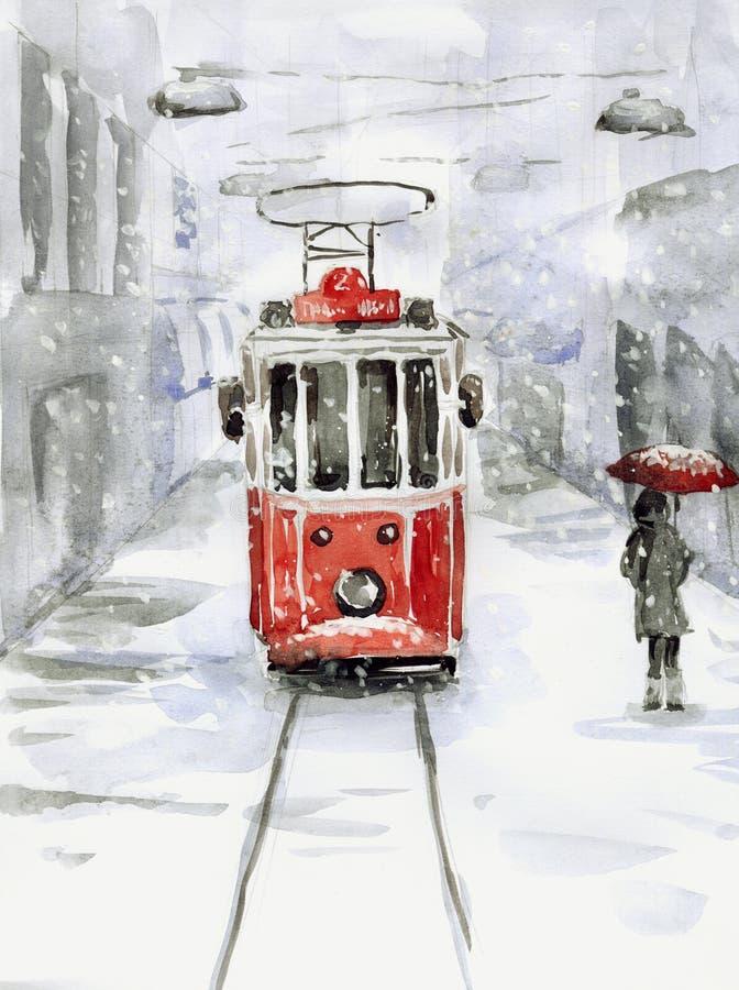 Queda de neve e bonde velho ilustração stock