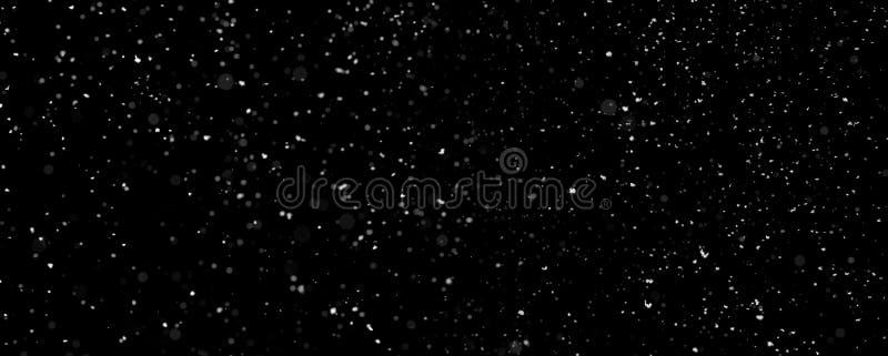 Queda de neve isolada no fundo preto imagens de stock