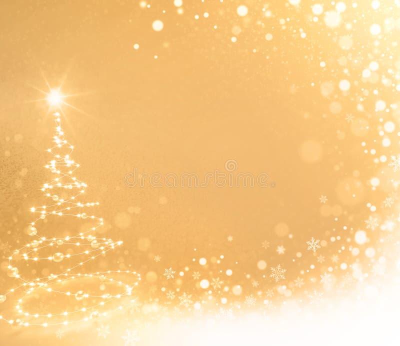 Queda de neve na árvore do White Christmas ilustração do vetor