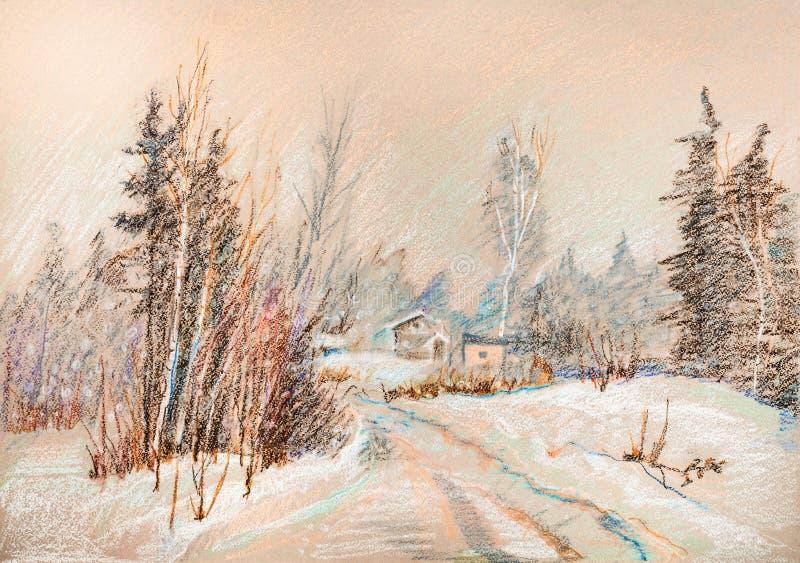 Queda de neve na floresta ilustração royalty free