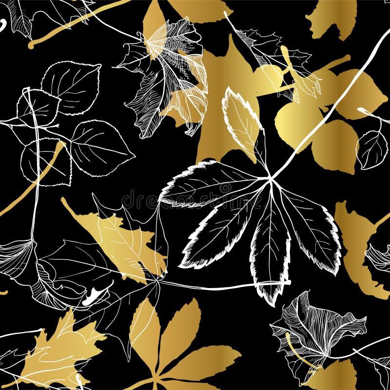 A queda deixa ouro o teste padrão sem emenda preto branco ilustração stock