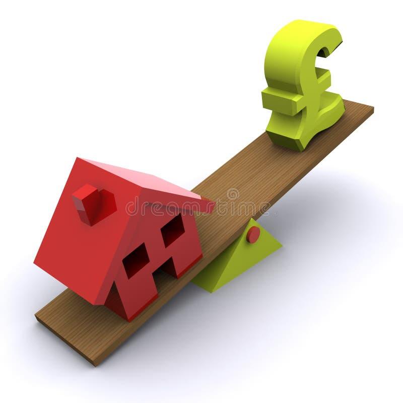 Queda do mercado imobiliário ilustração do vetor