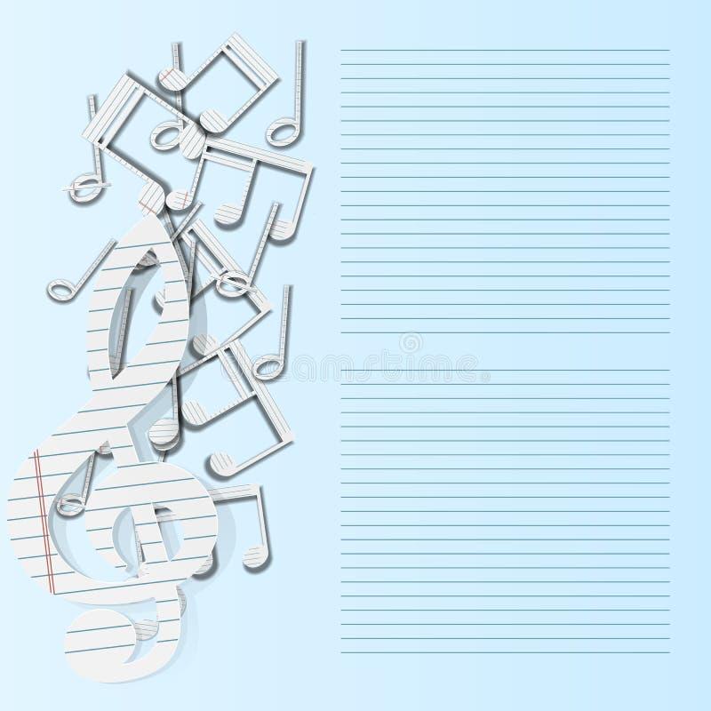 Queda do papel de notas musicais do fundo da música ilustração royalty free