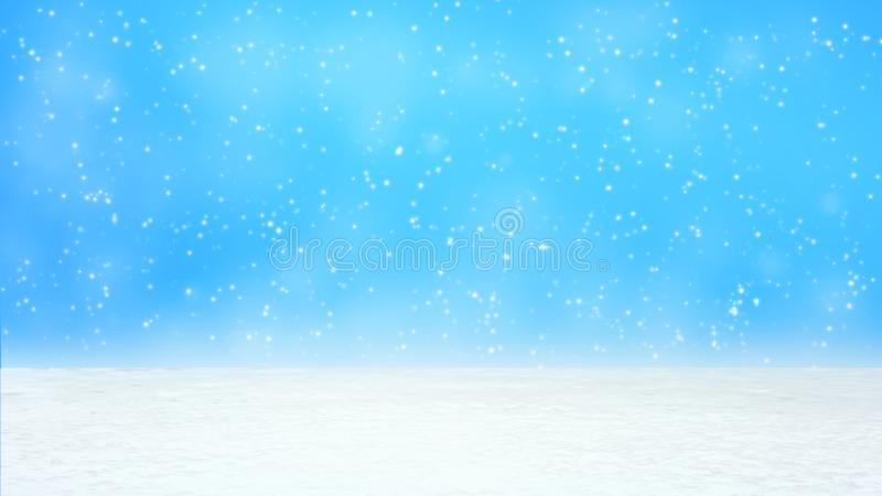 Queda do tamanho das neves vário grande e pequeno de cima no fundo branco do inclinação da neve imagens de stock