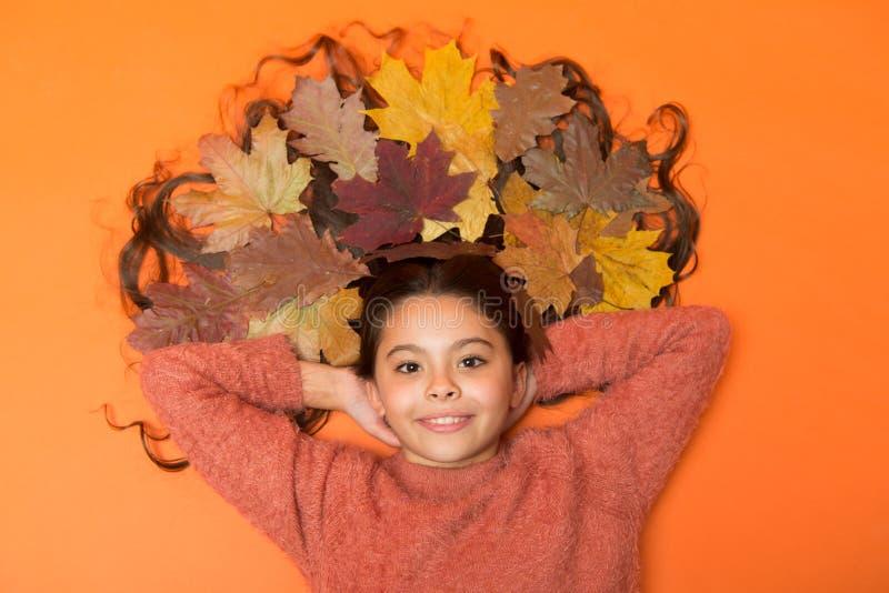 A queda está em sua mente A criança bonito da menina coloca no fundo alaranjado com folhas caídas A criança aprecia o outono Bord imagens de stock