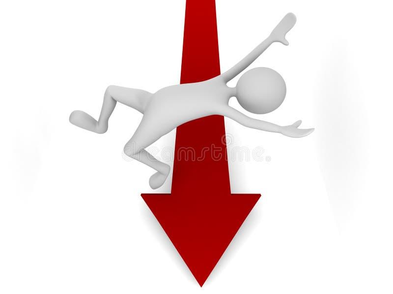 Queda fora seta descendente do mercado ilustração do vetor