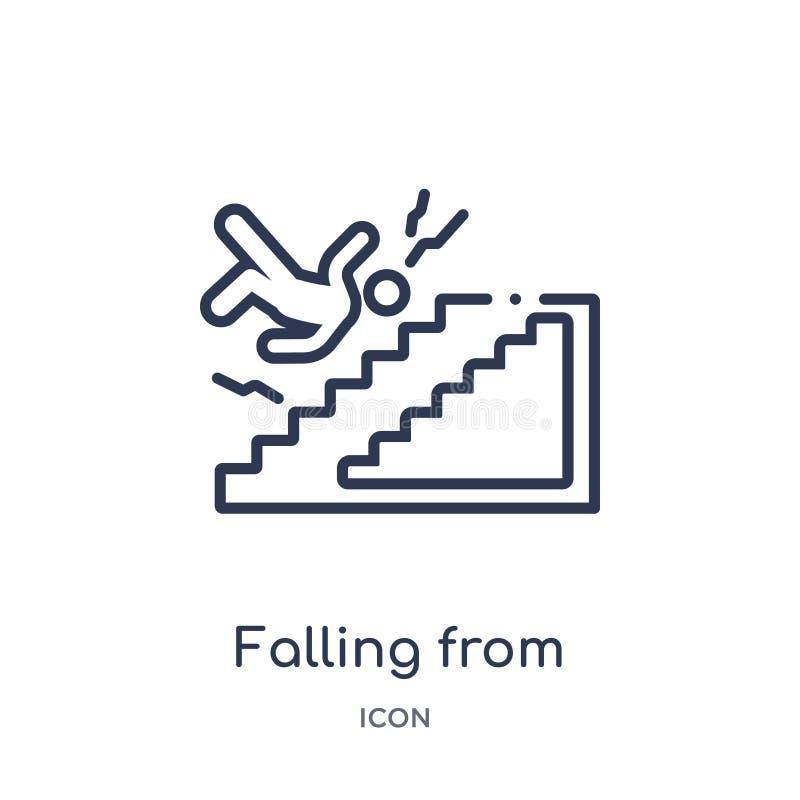 Queda linear do ícone das escadas da coleção do esboço do seguro Linha fina que cai do ícone das escadas isolado no fundo branco ilustração royalty free