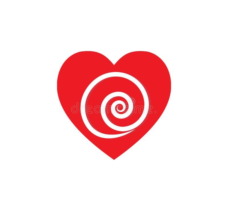 Queda no amor Coração vermelho com interior da pirueta ilustração royalty free