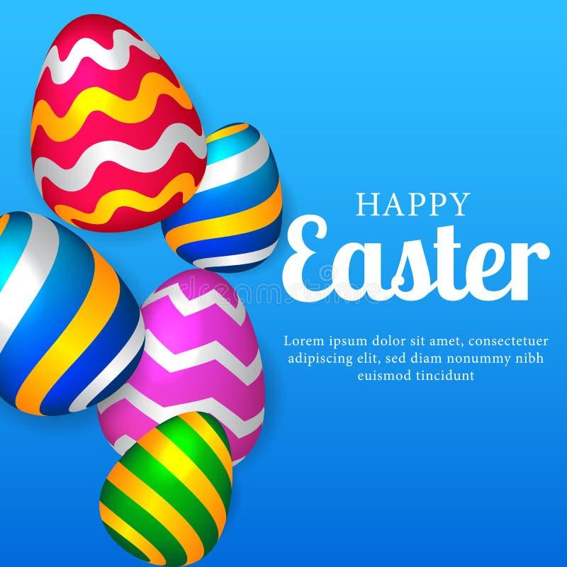 a queda realística decorativa colorida do ovo 3D para easter comemora com fundo azul ilustração royalty free