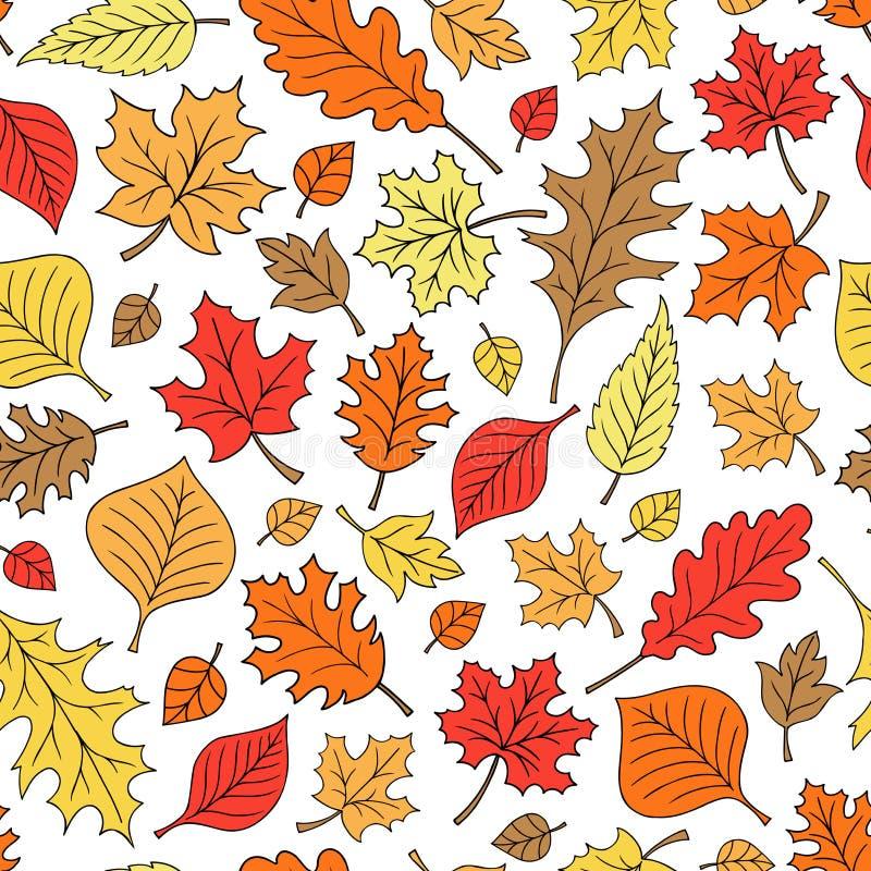 A queda sem emenda do outono deixa o vetor do teste padrão ilustração royalty free