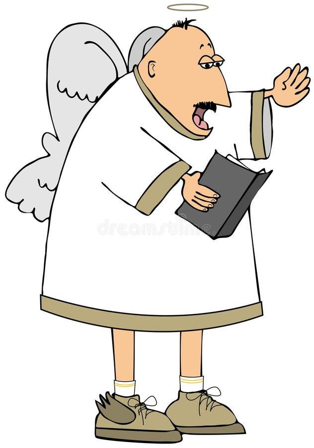 Quedarse calvo el ángel que canta de un libro del himno libre illustration