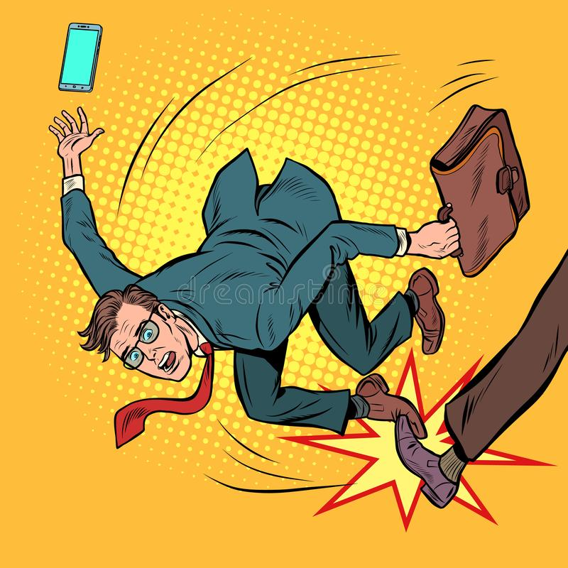 Quedas do homem de neg?cios competição do negócio e práticas injustas ilustração do vetor
