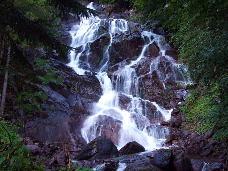 Quedas e cascatas em córregos no Linth River Valley foto de stock