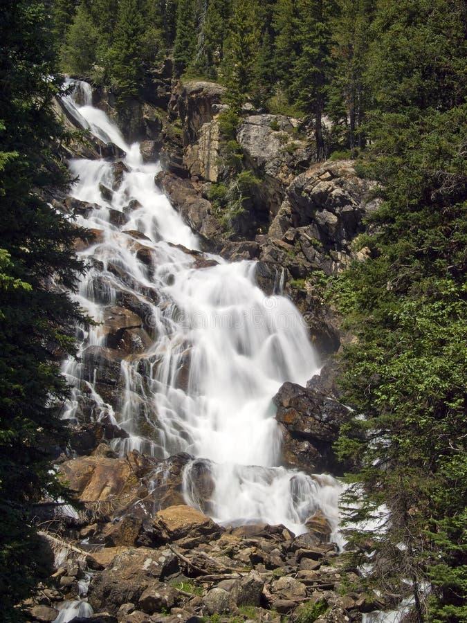 Quedas escondidas, parque nacional grande de Teton, Wyoming imagens de stock