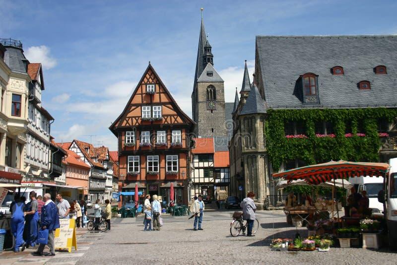 quedlinburg för marknadsställe royaltyfri fotografi