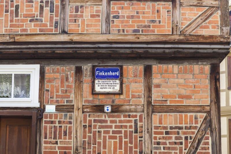 Quedlinburg, Finkenherd-Huis stock afbeelding