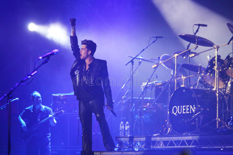Queen with Adam Lambert perform onstage during charity concert i. KYIV, UKRAINE - JUNE 30, 2012: Queen with Adam Lambert perform onstage during charity Anti-AIDS royalty free stock image