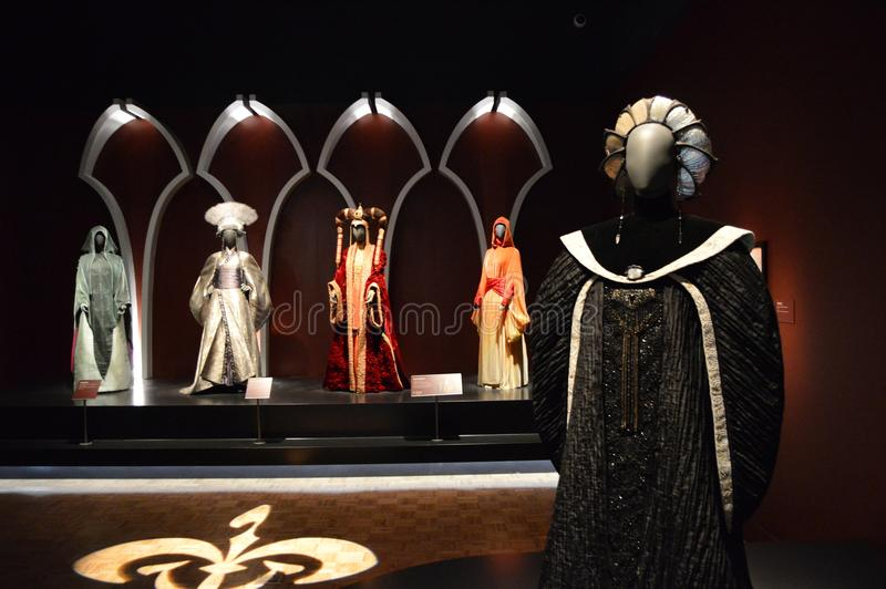 Queen Amidala Costumes. Clothing worn by Queen Amidala Natalie Portman of the Star Wars prequel trilogy, along with clothes worn by the maidens of the queen. The stock photography