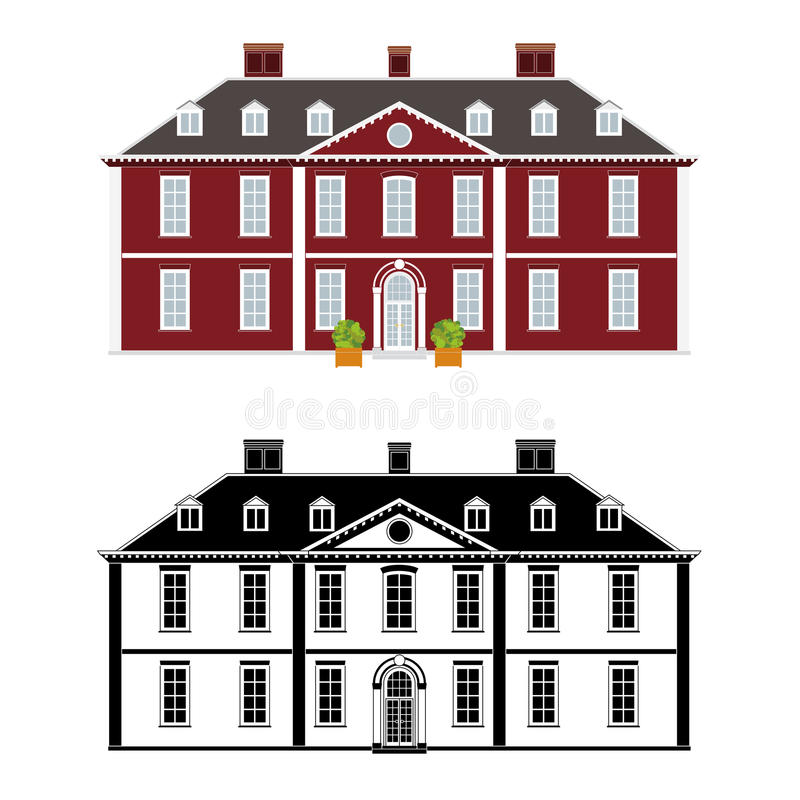Queen Anne Style Mansion stock illustration