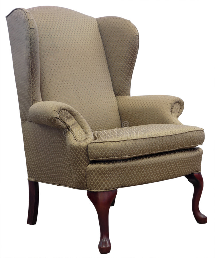 Queen Anne Style Wing Chair stock image