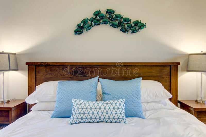 Queen Bed royalty free stock photography