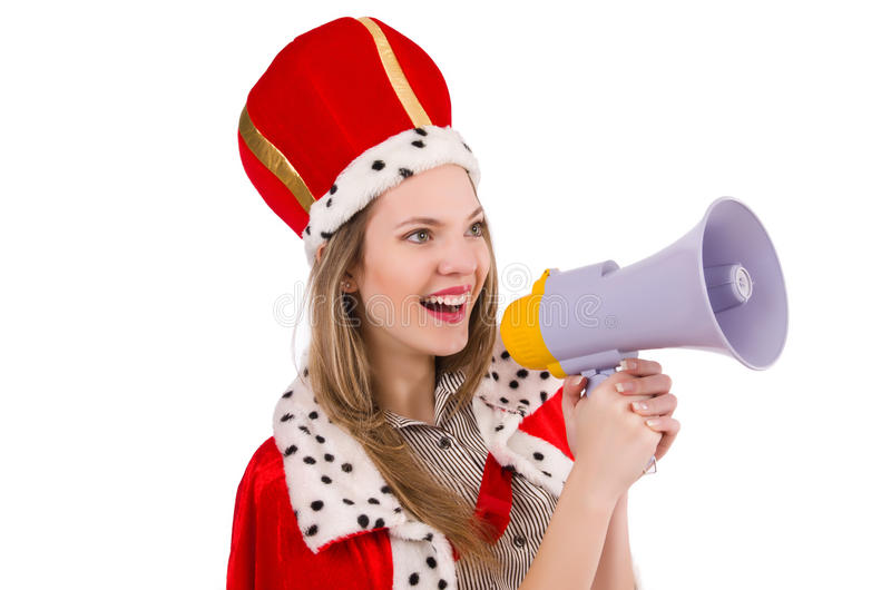 Queen businessman with loudspeaker. In funny concept royalty free stock photos